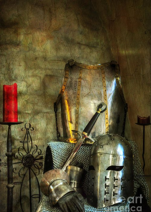 Medieval Greeting Card featuring the photograph Knight - A Warriors Tribute by Paul Ward