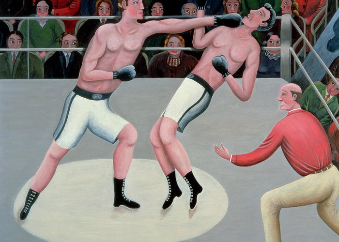 Referee; Boxing; Ring; Punch Greeting Card featuring the painting Knock Out by Jerzy Marek