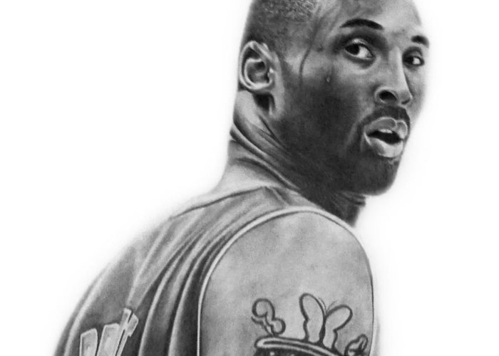 Kobe Greeting Card featuring the drawing Kobe Bryant by Don Medina
