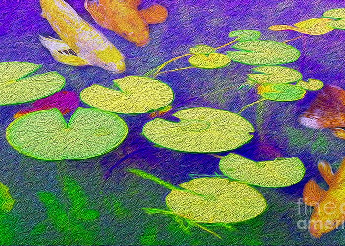 Koi Fish Under The Lilly Pads  Greeting Card by Jon Neidert