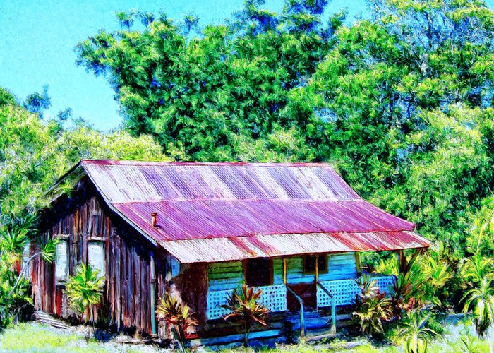 Kona Coffee Shack Greeting Card featuring the painting Kona Coffee Shack by Dominic Piperata