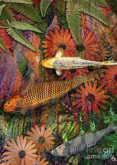 Koi Greeting Card featuring the mixed media Kona Kurry by Christopher Beikmann