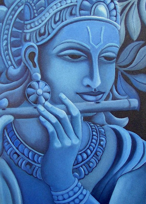 Krishna Greeting Card featuring the painting Krishna by Vishwajyoti Mohrhoff