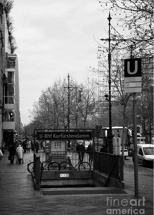 Berlin Greeting Card featuring the photograph Kufurstendamm U-bahn Station Entrance Berlin Germany by Joe Fox