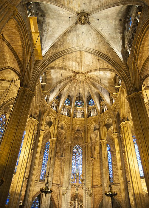 La Catedral Greeting Card featuring the photograph La Catedral Barcelona Cathedral by Matthias Hauser