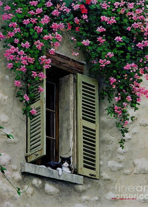 French Window Greeting Card featuring the painting La Chad by Michael Swanson