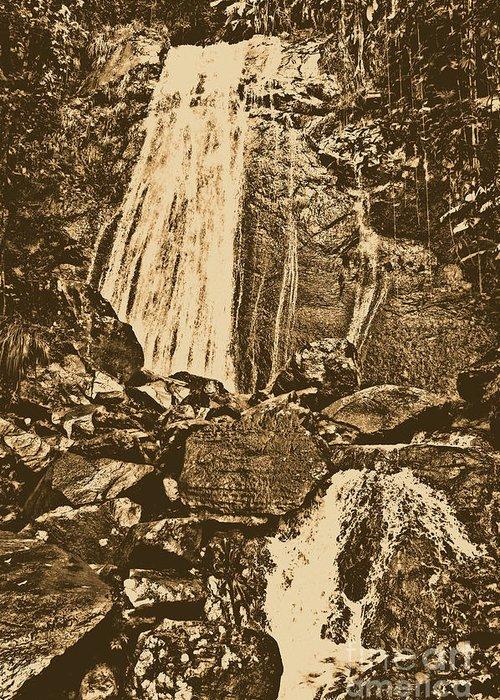 Puerto Rico Greeting Card featuring the digital art La Coca Falls El Yunque National Rainforest Puerto Rico Prints Rustic by Shawn O'Brien