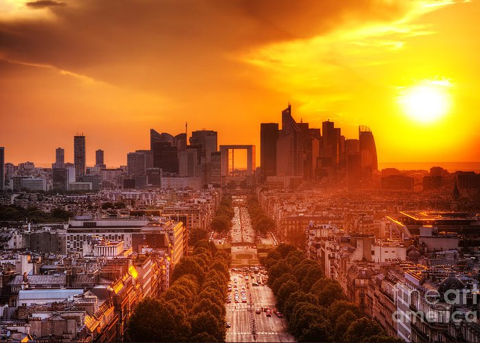 Paris Greeting Card featuring the photograph La Defense And Champs Elysees At Sunset by Michal Bednarek