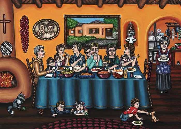 Hispanic Art Greeting Card featuring the painting La Familia Or The Family by Victoria De Almeida