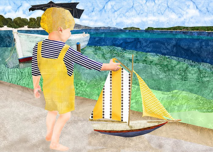 Fabric Melodies Greeting Card featuring the digital art La Mer by Robin Morgan