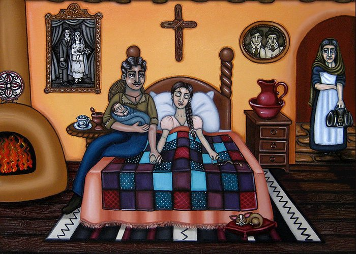 Doulas Greeting Card featuring the painting La Partera Or The Midwife by Victoria De Almeida