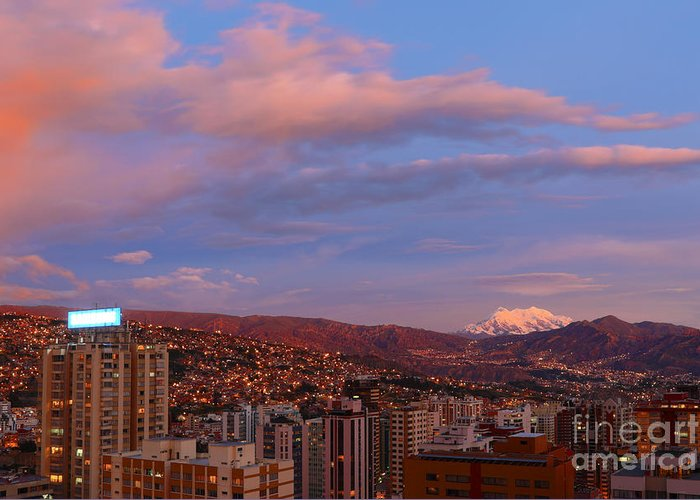 South America Greeting Card featuring the photograph La Paz Twilight by James Brunker