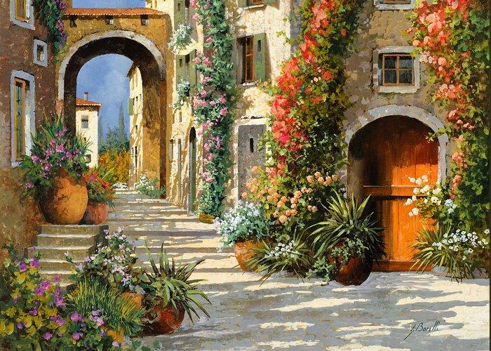 Landscape Greeting Card featuring the painting La Porta Rossa Sulla Salita by Guido Borelli
