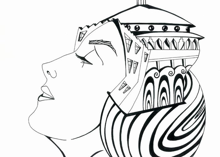 Woman Greeting Card featuring the drawing La Reina Catalina by Carlos Martinez