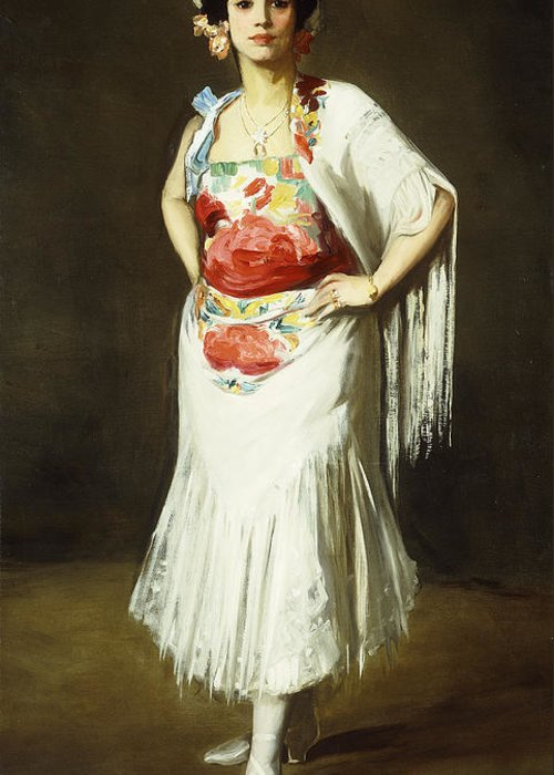 Portrait Greeting Card featuring the painting La Reina Mora by Robert Henri