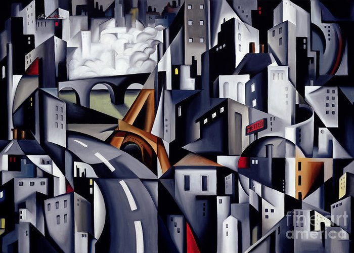 Rive Greeting Card featuring the painting La Rive Gauche by Catherine Abel