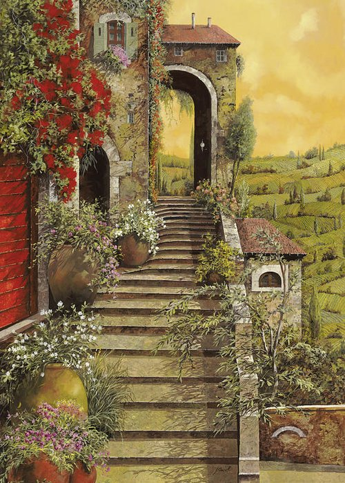 Arch Greeting Card featuring the painting La Scala Grande by Guido Borelli