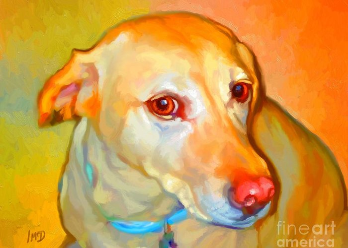 Dog Paintings Greeting Card featuring the painting Labrador Painting by Iain McDonald