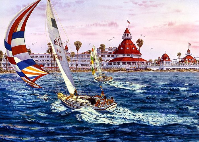 San Diego Paintings Greeting Card featuring the painting Lady Del And Sunday Afternoon by John YATO