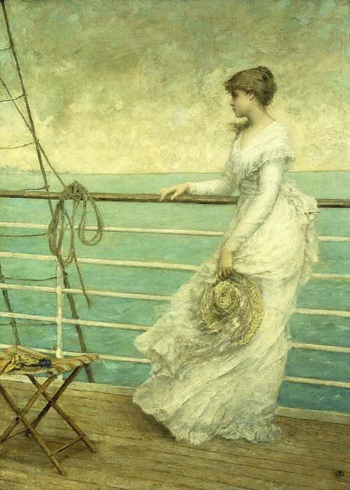 Lady; Deck; Ship; Sea; Seascape; Rigging; Ropes; Boat; Travel; Travelling; Journey; Transport; Young; Youth; Romantic; Pretty; Beauty; Beautiful; White; Lace; Dress; Demure; Lost In Thought; Pensive; Thoughtful; Hat; Stool; Seat; Victorian; On Deck Greeting Card featuring the painting Lady On The Deck Of A Ship by French School