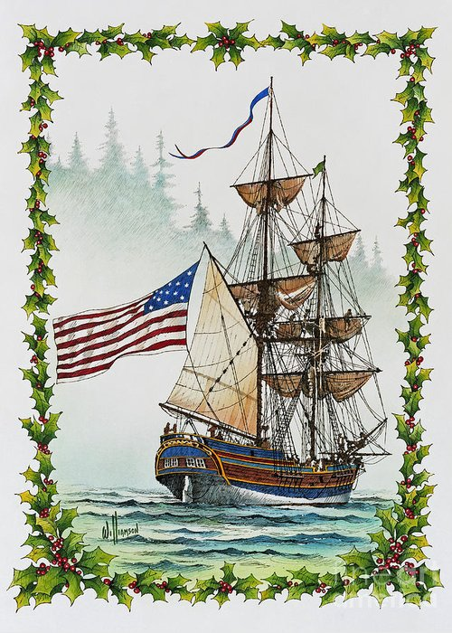 Tall Ship Print Greeting Card featuring the painting Lady Washington And Holly by James Williamson