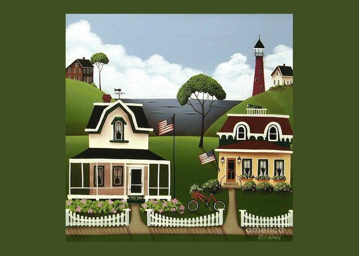 Art Greeting Card featuring the painting Lake Cottages by Catherine Holman