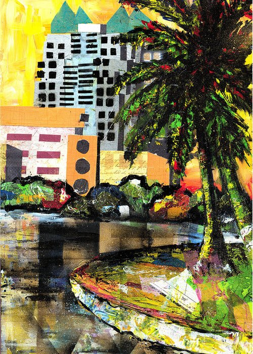 Orlando Greeting Card featuring the painting Lake Eola - Part 3 Of 3 by Everett Spruill