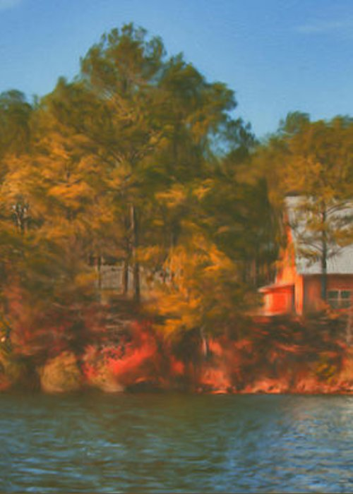 Farm Greeting Card featuring the photograph Lake House by Brenda Bryant