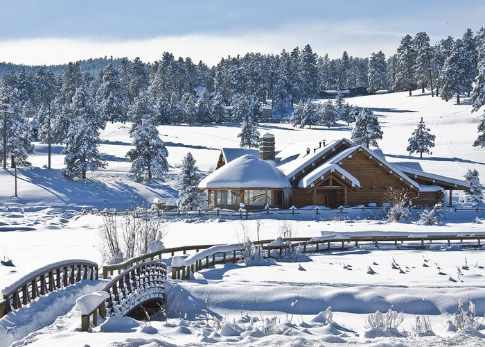Evergreen Colorado Greeting Card featuring the photograph Lake House In Snow by Ron White