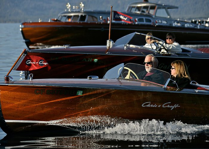 Lake Greeting Card featuring the photograph Lake Tahoe Speedboats by Steven Lapkin