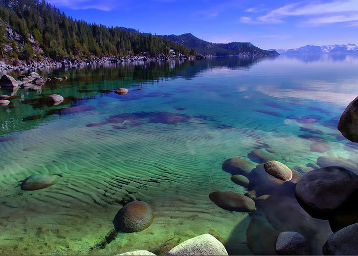 Blue Sky Greeting Card featuring the photograph Lake Tahoe Waterscape by Scott McGuire