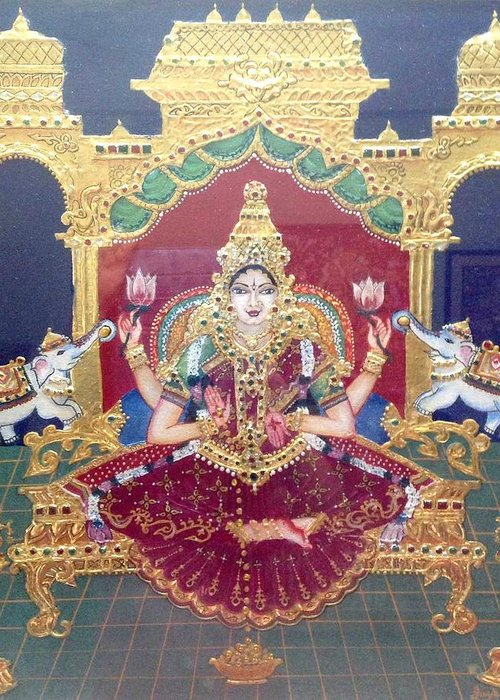 Tanjore Greeting Card featuring the painting Lakshmi by Jayashree