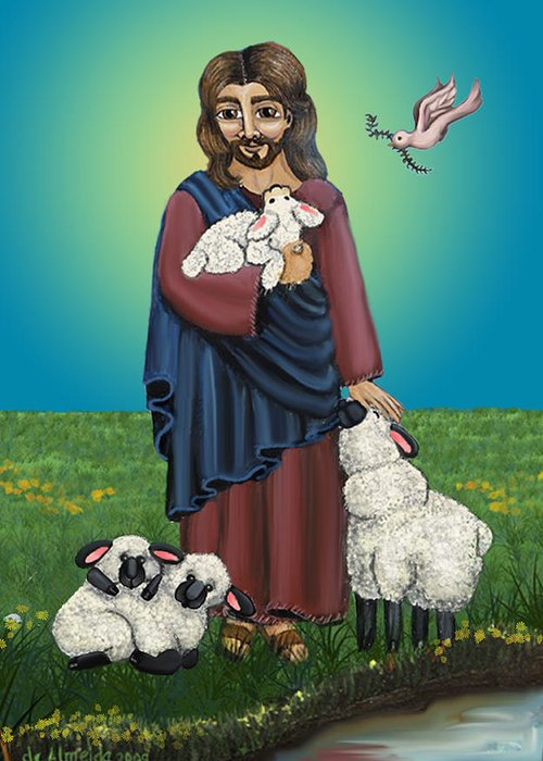 Folk Art Greeting Card featuring the painting Lamb Of God by Victoria De Almeida