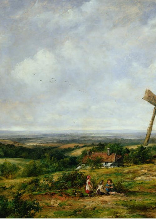Children Greeting Card featuring the painting Landscape With Figures By A Windmill by Frederick Waters Watts