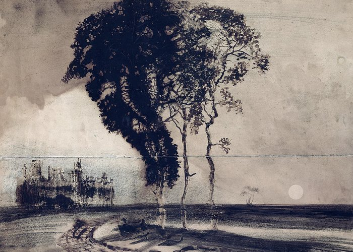 Landscape With Three Trees Greeting Card featuring the painting Landscape With Three Trees by Victor Hugo