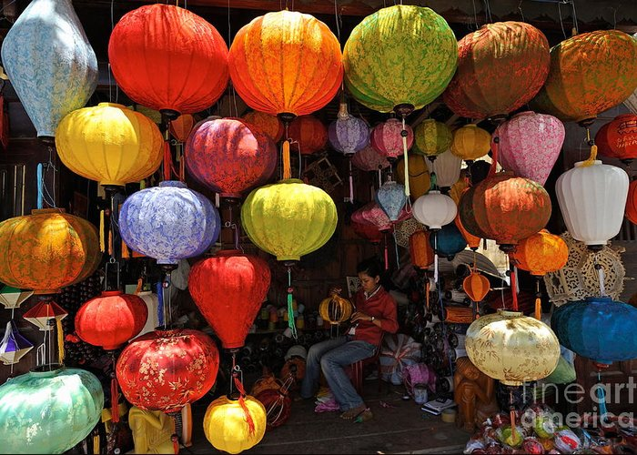 Paper Greeting Card featuring the photograph Lanterns Hanging In Shop In Hoi An by Sami Sarkis
