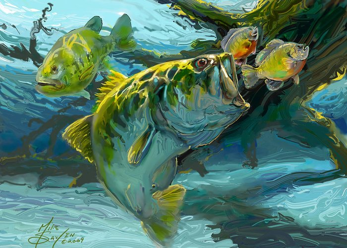 Largemouth Greeting Card featuring the painting Large Mouth Bass And Blue Gills by Savlen Art