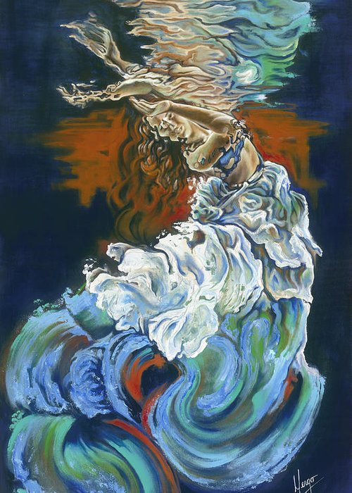 Dive Greeting Card featuring the painting Dive Into Your Soul by Karina Llergo