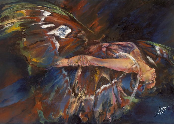 Butterfly Greeting Card featuring the painting Last Flight by Karina Llergo Salto