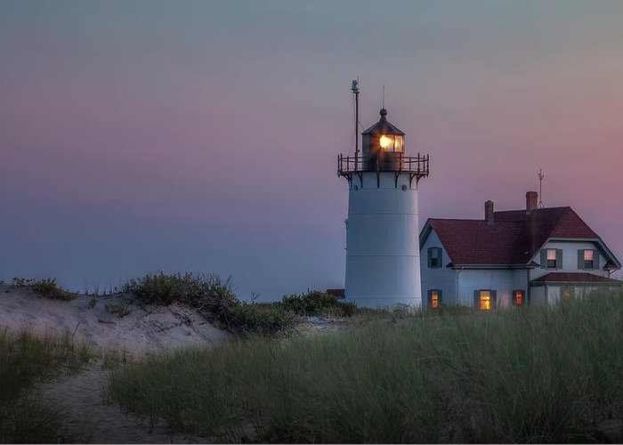Race Point Light Greeting Card featuring the photograph Last Light by Bill Wakeley