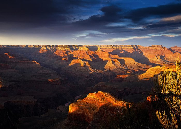 National Park Greeting Card featuring the photograph Last Light In The Grand Canyon by Andrew Soundarajan