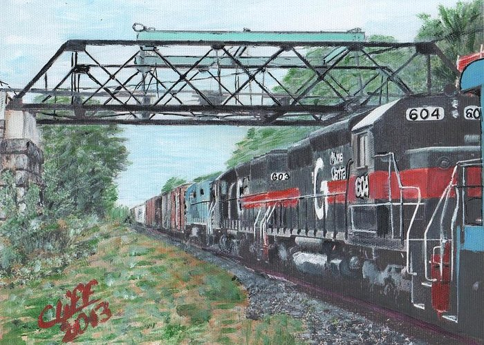 Trains Greeting Card featuring the painting Last Train Under The Bridge by Cliff Wilson