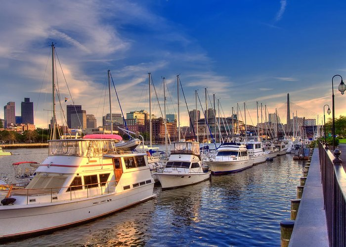 Boston Greeting Card featuring the photograph Late Afternoon At Constitution Marina - Charlestown by Joann Vitali