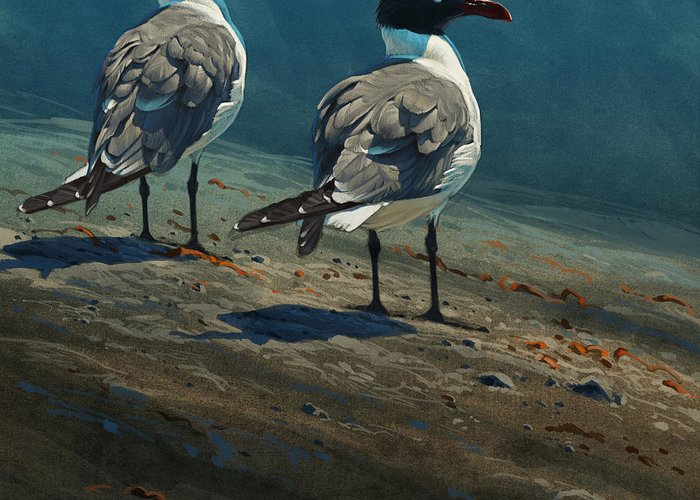 Birds Greeting Card featuring the digital art Laughing Gulls by Aaron Blaise