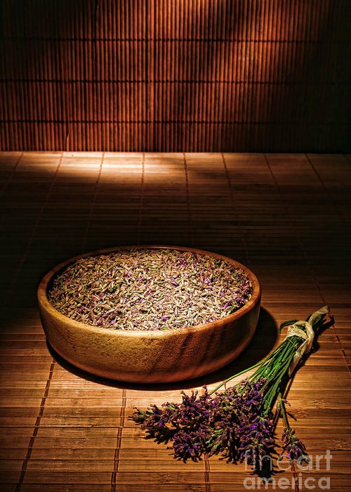 Aromatherapy Greeting Card featuring the photograph Lavender Flowers And Seeds by Olivier Le Queinec