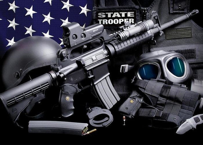 Law Enforcement Greeting Card featuring the photograph Law Enforcement Tactical Trooper by Gary Yost