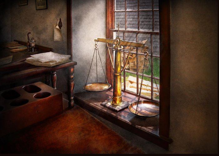 Hdr Greeting Card featuring the photograph Lawyer - Scales Of Justice by Mike Savad