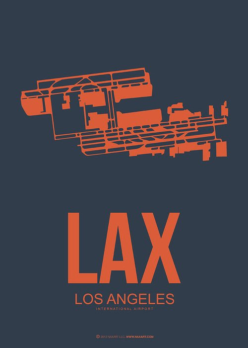 Los Angeles Greeting Card featuring the digital art Lax Airport Poster 3 by Naxart Studio