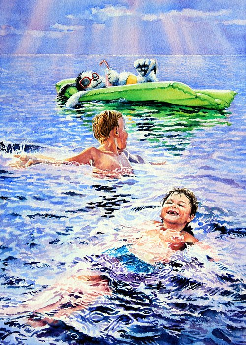 Boys Swimming Painting Greeting Card featuring the painting Lazy Hazy Crazy Days by Hanne Lore Koehler