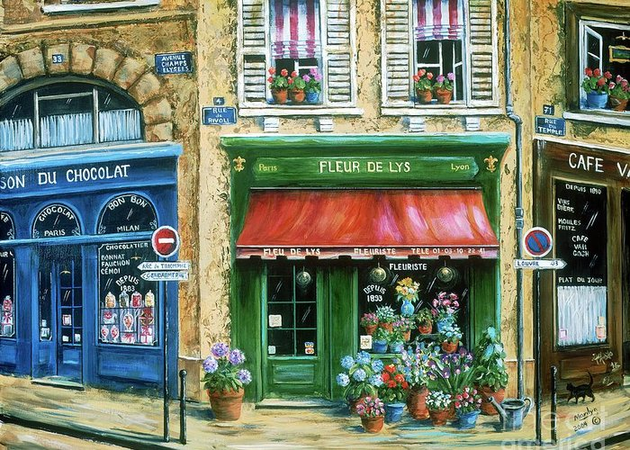 Europe Greeting Card featuring the painting Le Fleuriste by Marilyn Dunlap